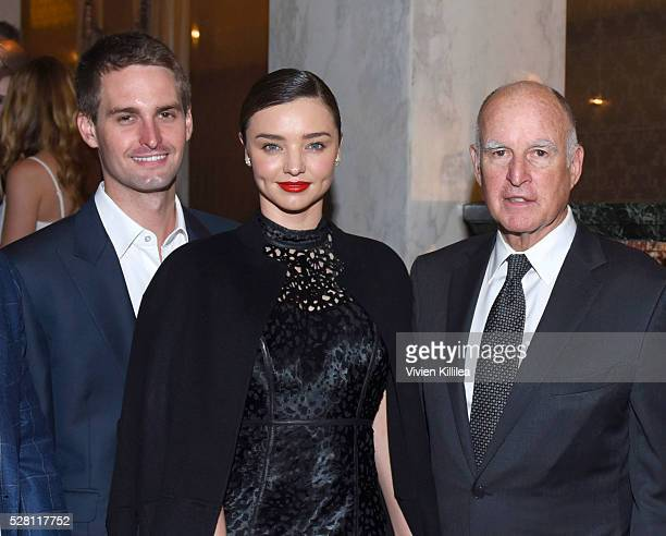 Cofounder and CEO of Snapchat Evan Spiegel model Miranda Kerr and governer Jerry Brown attend the Berggruen Institute 5 Year Anniversary Celebration...