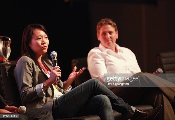 Co-Founder and CEO of Spazzmania Lin Tam and Executive Producer of ngmoco Caryl Shaw speak onstage during day 2 of the 2011 LA Mobile Entertainment...