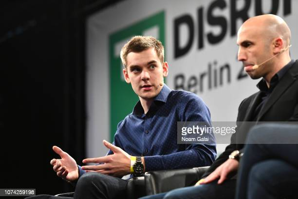 Cofounder and CEO of Taxify Markus Villig and Cofounder and CEO of Via Transportation Inc Daniel Ramot speak on stage at TechCrunch Disrupt Berlin...