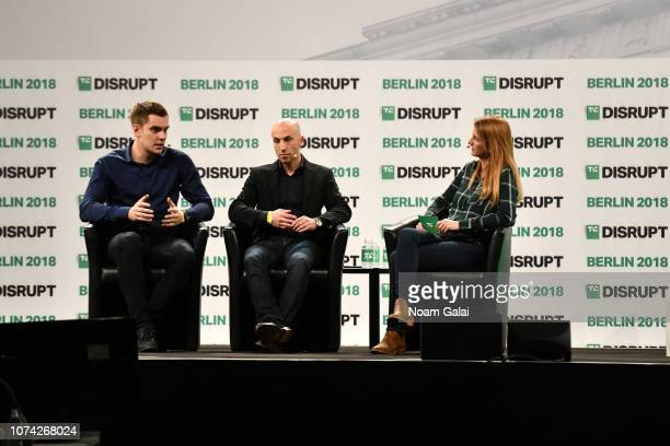 Cofounder and CEO of Taxify Markus Villig and Cofounder and CEO of Via Transportation Inc Daniel Ramot and moderator Kirsten Korosec speak on stage...