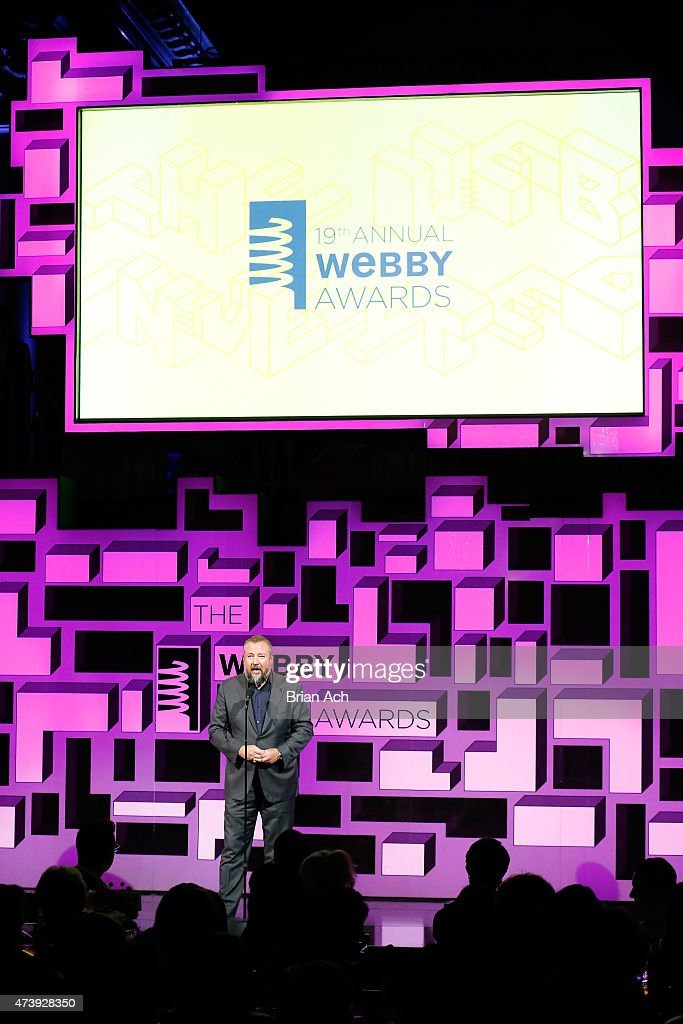 Co-founder and CEO of VICE Media Shane Smith presents an award on stage during the 19th Annual Webby Awards on May 18, 2015 in New York City.