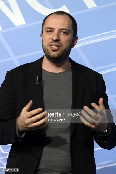 Cofounder and CEO of Whatsapp Jan Koum holds a conference during the 2014 Mobile World Congress in Barcelona on February 24 2014 The Mobile World...