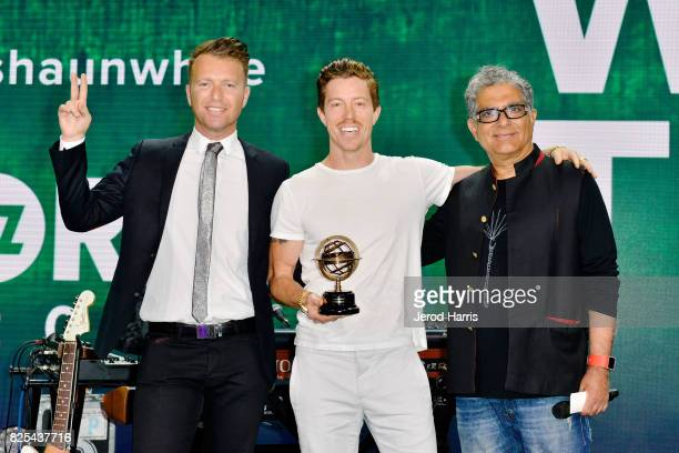 WORLDZ cofounder and CEO Roman Tsunder Shaun White and Dr Deepak Chopra on stage at WORLDZ Cultural Marketing Summit at Hollywood and Highland on...