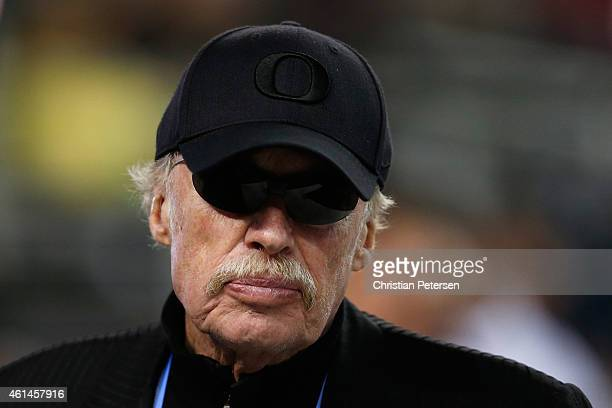 Cofounder and chairman of Nike Inc Phil Knight looks on before the College Football Playoff National Championship Game at ATT Stadium on January 12...