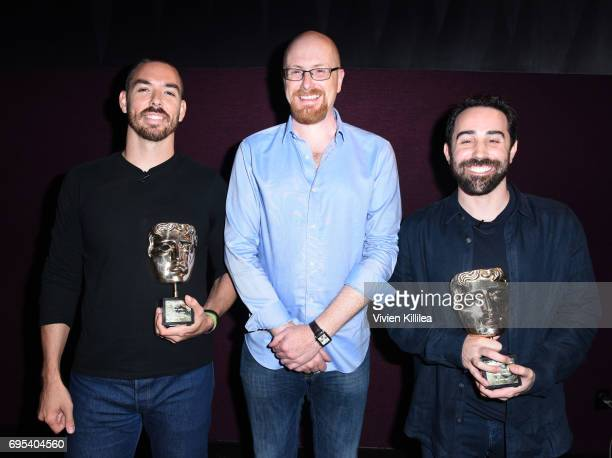 Cofounder and coCEO of Riot Games Marc Merrill BAFTA Games Committee Chair Nick ButtonBrown and cofounder and coCEO of Riot Games Brandon Beck attend...