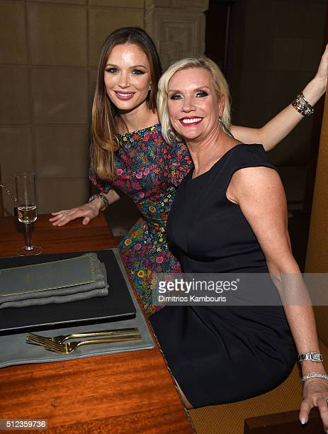 Cofounder and designer of Marchesa Georgina Chapman and MAC Global President Karen Buglisi Weiler attend the MAC Cosmetics Zac Posen luncheon at the...