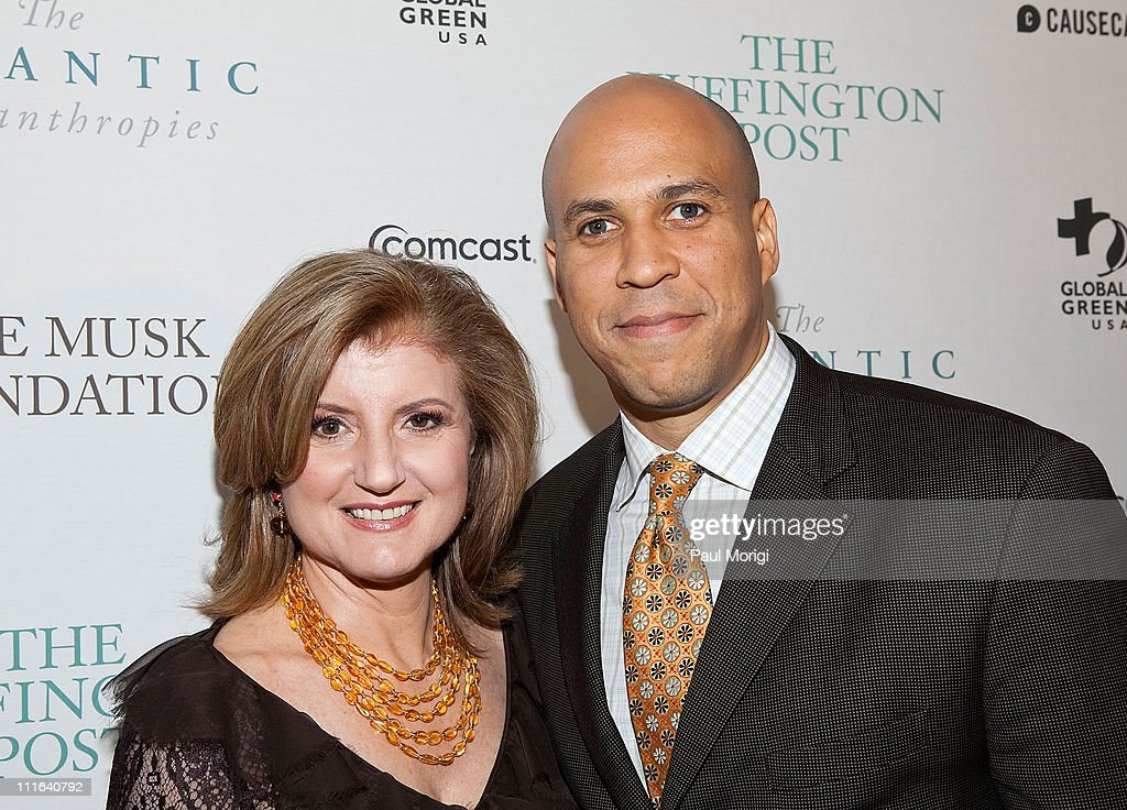 Co-founder and editor-in-chief of The Huffington Post Arianna Huffington and Newark Mayor Cory Booker attend The Huffington Post pre-inaugural ball at the Newseum on January 19, 2009 in Washington, DC.
