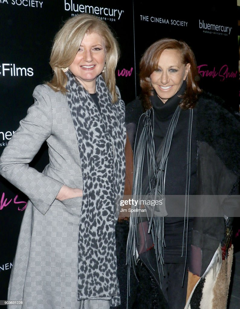 Co-founder and editor-in-chief of The Huffington Post Arianna Huffington (L) and designer Donna Karan attend the premiere of IFC Films' 'Freak Show' hosted by The Cinema Society and Bluemercury at Landmark Sunshine Cinema on January 10, 2018 in New York City.