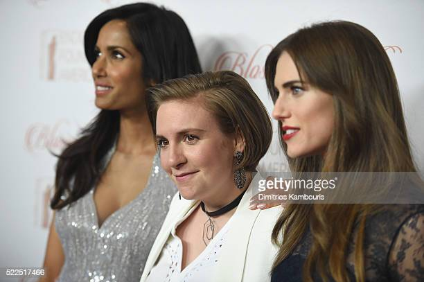 EFA cofounder and host Padma Lakshmi actress Lena Dunham and actress Allison Williams arrive at the 8th Annual Blossom Ball benefiting the...