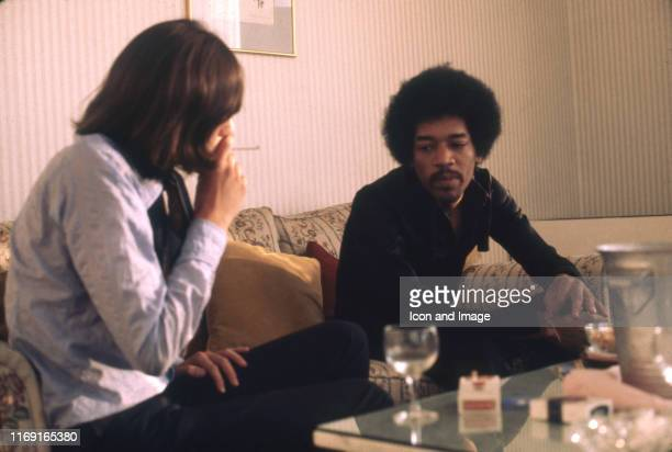 Cofounder and publisher of Rolling Stone magazine Jann Wenner interviews legendary rock guitarist singer and songwriter Jimi Hendrix before his...