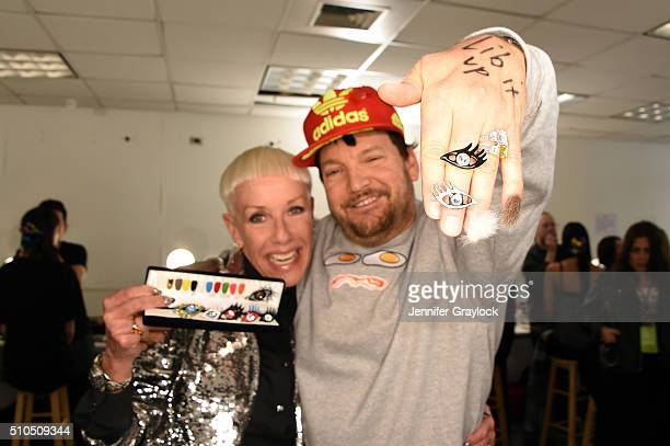 CoFounder and Style Director Jan Arnold and Libertine Designer Johnson Hartig pose together at Libertine Fall/Winter 2016 backstage at The Gallery at...