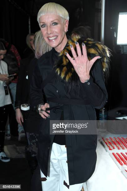 Co-founder and Style Director Jan Arnold poses backstage at CND for Jeremy Scott Fall/Winter 2017 on February 10, 2017 in New York City.