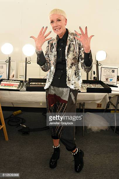 CoFounder and Style Director Jan Arnold poses backstage at Libertine Fall/Winter 2016 backstage at The Gallery at Skylight Clarkson Sq on February 15...