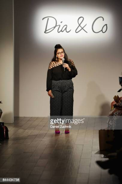 CEO cofounder at DiaCo Nadia Boujarwah speaks on the runway during the DiaCo fashion show and industry panel at the CURVYcon at Metropolitan Pavilion...
