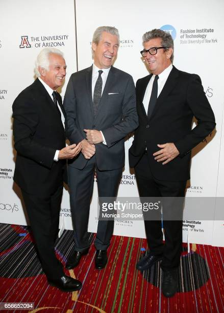 Cofounder at Guess Inc Maurice Marciano honoree and chairman and CEO of Macy's Terry Lundgren and cofounder and CEO at Theory Andrew Rosen attend the...