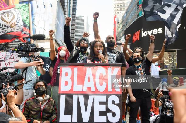 Cofounder BLM Greater NY Chivona Newsome speaks at a Black Lives Matter rally in Times Square on June 07 2020 in New York New York