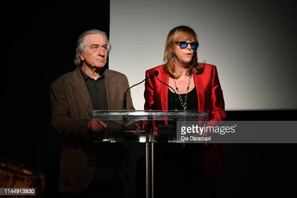 """Co-founder, CEO, and executive chair of Tribeca Enterprises Jane Rosenthal and Robert De Niro speak at the """"The Apollo"""" screening during the 2019..."""