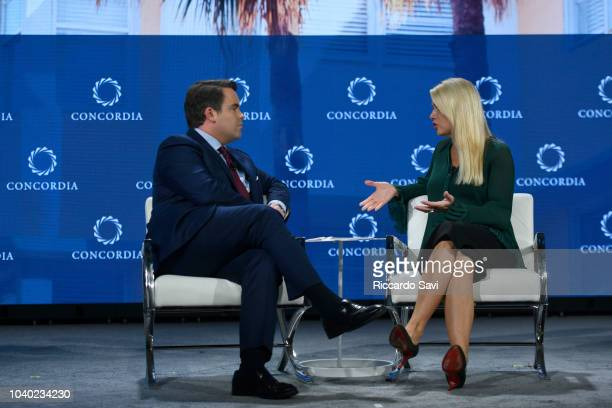 CoFounder Chairman and CEO of Concordia Matthew A Swift and Attorney General for the State of Florida Hon Pam Bondi speak onstage during the 2018...