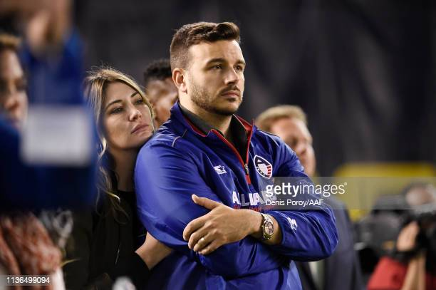 AAF cofounder Charlie Ebersol looks on during an Alliance of American Football game between the Birmingham Iron and the San Diego Fleet at SDCCU...
