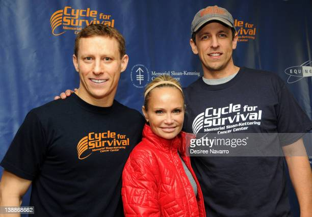 CoFounder Cycle for Survival Dave Linn actress Kristin Chenoweth and comedian Seth Meyers pose for photos at the 2012 Cycle For Survival Day 2 at...
