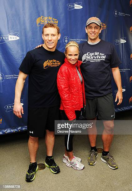 CoFounder Cycle for Survival Dave Linn actress Kristin Chenoweth and comedian Seth Meyers attend the 2012 Cycle For Survival Day 2 at Equinox Graybar...