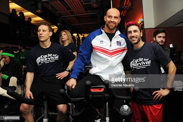 CoFounder Cycle for Survival Dave Linn New York Giants Linebacker Mark Herzlich and TV personality Ethan Zohn attend the 2012 Cycle For Survival Day...