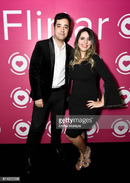 CEO CoFounder Flirtar Renan Godinho and Director of Marketing Flirtar Jacqueline Bowen at Flirtar Launch Party The World's First Augmented Reality...