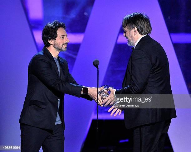 CoFounder Google Sergey Brin and Professor Neuroscience University College Institute of Neurology London John Hardy accepting the 2016 Breakthrough...