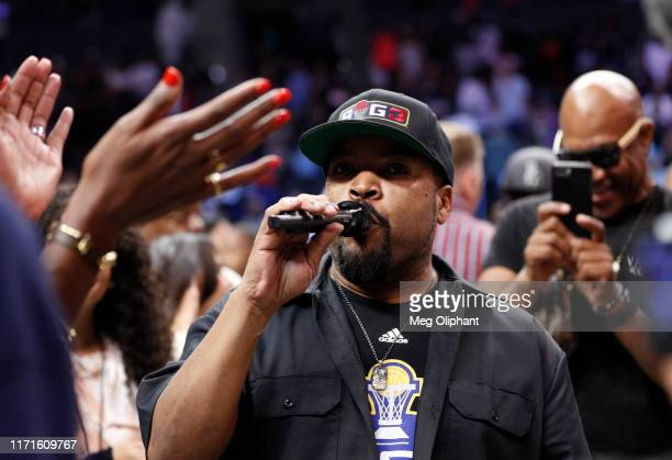 Co-founder Ice Cube announces the trophy presentation for the Triplets after they defeated the Killer 3s to win the BIG3 Championship at Staples...