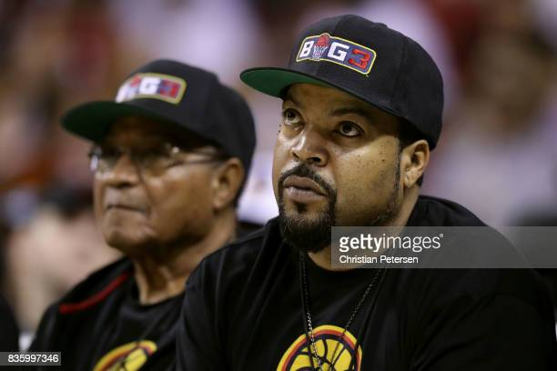 BIG3 cofounder Ice Cube sits courtside while attending week nine of the BIG3 threeonthree basketball league at KeyArena on August 20 2017 in Seattle...
