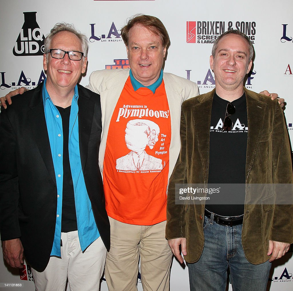 F. co-founder John Andrews, director Bill Plympton and L.A.A.F. co-founder Miles Flanagan attend the 2012 Los Angeles Animation Film Festival premiere of 'Adventures in Plymptoons!' at Regent Showcase Theatre on March 10, 2012 in West Hollywood, California.