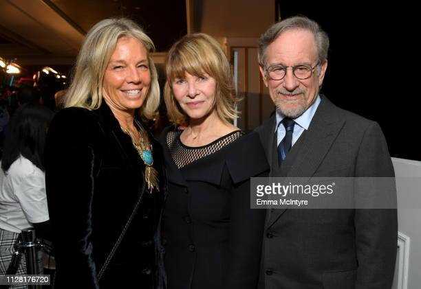 "Co-Founder Kelly Chapman Meyer, Kate Capshaw and Steven Spielberg attend WCRF's ""An Unforgettable Evening"" at the Beverly Wilshire Four Seasons Hotel..."