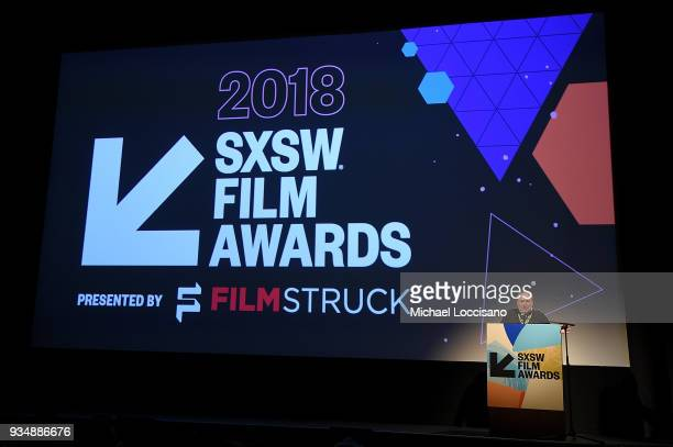 SXSW cofounder Louis Black introduces the SXSW Film Awards show during the 2018 SXSW Conference and Festivals at Paramount Theatre on March 13 2018...