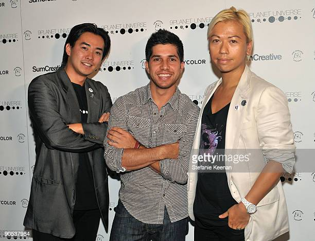 Cofounder of 9Planet UNIVERSE Tomoyuki Iwanami actor Walter Perez and founder of 9Planet UNIVERSE Alex Sum attend the 9Planet Universe Launch held at...