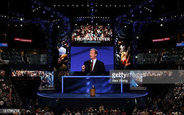 CoFounder of Advanced Energy Economy Tom Steyer speaks during day two of the Democratic National Convention at Time Warner Cable Arena on September 5...