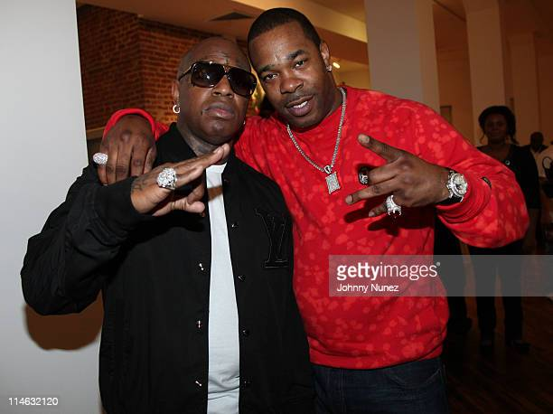 Cofounder of Cash Money records recording artist and entrepreneur Birdman and rapper Busta Rhymes attend the Cash Money Content celebration at the...