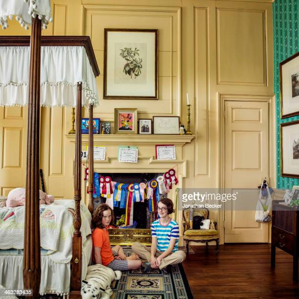 Cofounder of Charleston Academy of Domestic Pursuits Lee Manigault's daughters India and Gigi are photographed for Town Country Magazine on April 11...