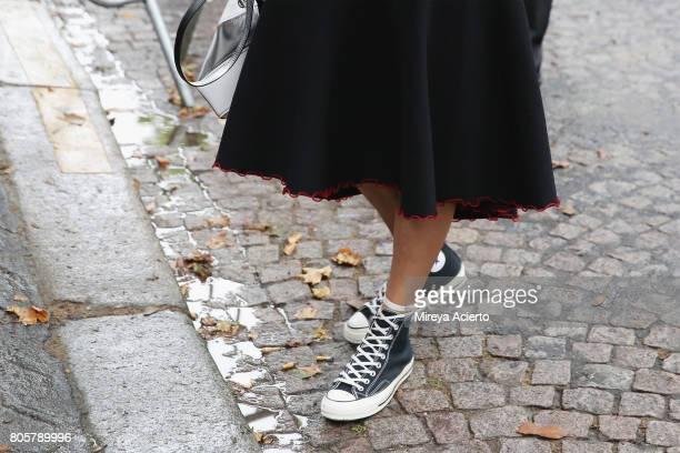 CoFounder of digital platform heywomancom Veronika Heilbrunner shoe detail attends the Proenza Schouler Haute Couture fashion show on July 2 2017 in...