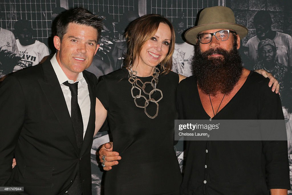 Co-founder of Frank LA Patrick Gill, founder & CEO of Frank LA Alison Miller and Frank LA photographer Bode Helm arrive at the Frank LA Issue release celebration 'No. 001 - No Place Like Home' benefitting LAMP community on July 23, 2015 in Los Angeles, California.