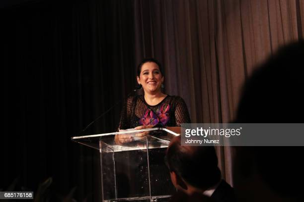 CoFounder of Glasswing Celina de Sola speaks onstage at the Glasswing International 10th Anniversary Gala at Tribeca Rooftop on May 18 2017 in New...