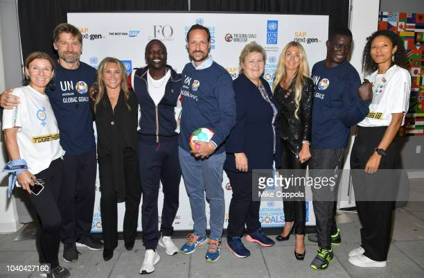 Cofounder of Global Goals World Cup Majken Gilmartin Actor Nikolaj CosterWaldau Female Quotient CEO Shelley Zalis Recording artist Akon Haakon Crown...