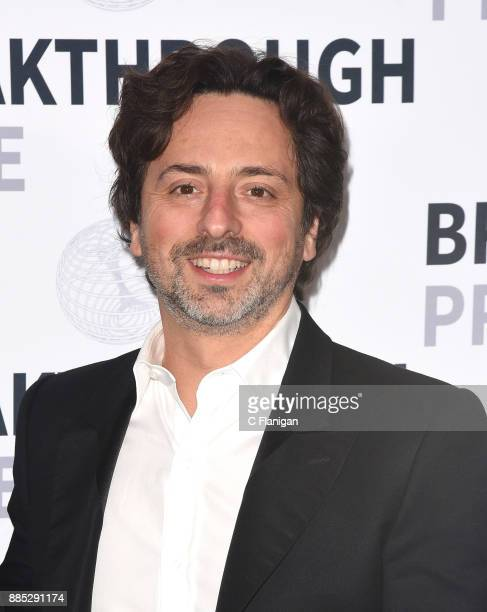 Cofounder of Google and Alphabet president Sergey Brin poses for photos after award ceremony at the 2018 Breakthrough Prize at NASA Ames Research...