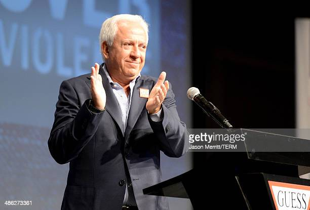Cofounder of Guess Inc Paul Marciano speaks onstage at the GUESS and Peace Over Violence celebration of the 15th anniversary of Denim Day at GUESS...
