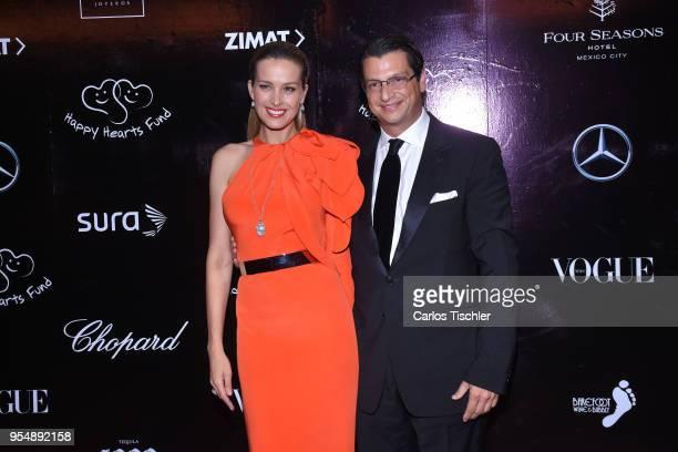 Cofounder of Happy Hearts Fundation Petra Nemcova and Alejandro Grimaldi pose for pictures during the Happy Hearts Foundation Mexico 10th Anniversary...