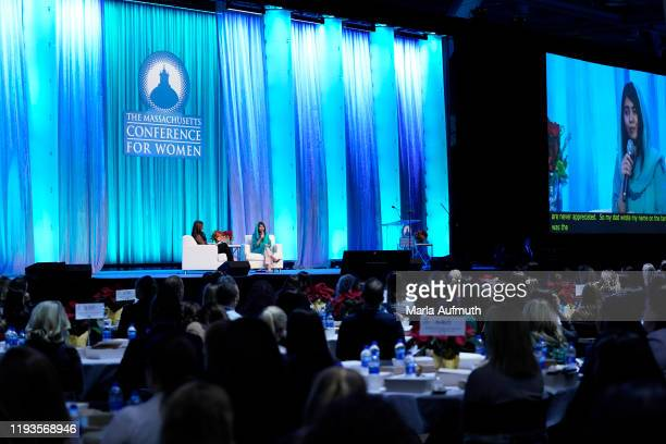 Co-founder of Malala Fund and a Nobel Laureate Malala Yousafzai and award-winning journalist Alicia Menendez speak on stage at Massachusetts...