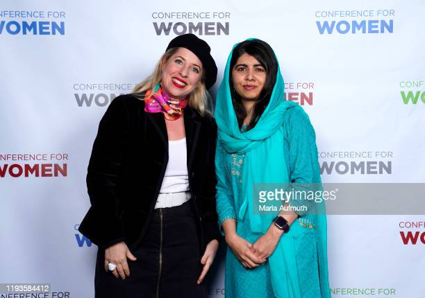 Co-founder of Malala Fund and a Nobel Laureate Malala Yousafzai and Tiffany Shlain pose for a photo backstage during Massachusetts Conference For...