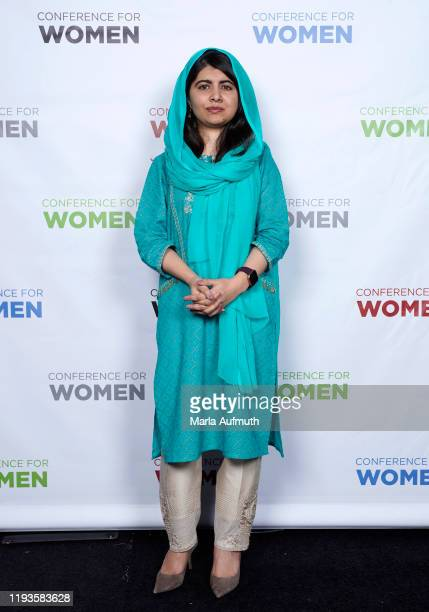 Co-founder of Malala Fund and a Nobel Laureate Malala Yousafzai poses for a photo backstage during Massachusetts Conference For Women 2019 at Boston...