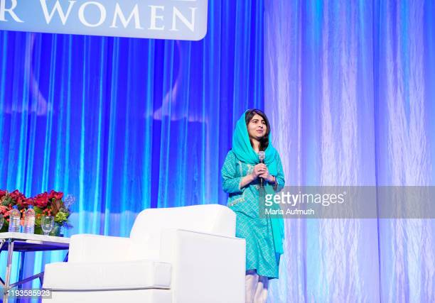 Co-founder of Malala Fund and a Nobel Laureate Malala Yousafzai speaks on stage at Massachusetts Conference For Women 2019 at Boston Convention...