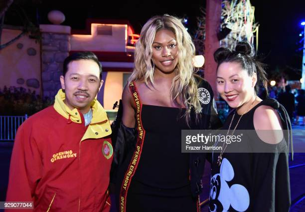 CoFounder of Opening Ceremony Humberto Leon Laverne Cox and CoFounder of Opening Ceremony Carol Lim attend the launch of Mickey the True Original...