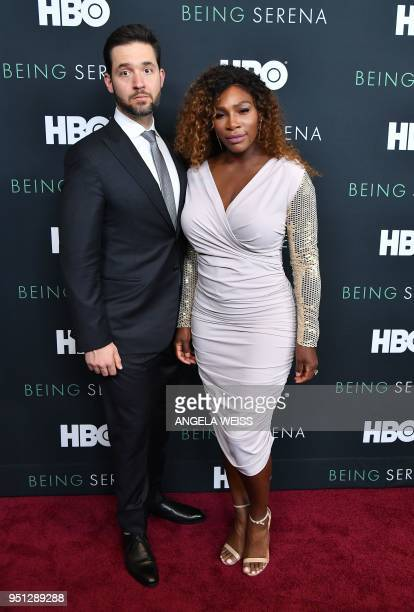 CoFounder of Reddit Alexis Ohanian and Serena Williams attend the HBO New York Premiere of 'Being Serena' at Time Warner Center on April 25 2018 in...